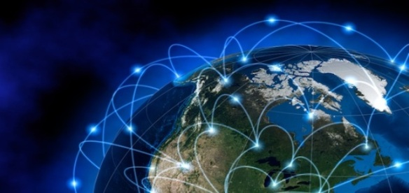 World network, internet. Source maps are courtesy of NASA Earth Observatory Blue Marble project, for geographical boundaries http://earthobservatory.nasa.gov/Features/BlueMarble/).