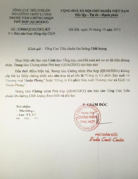 Báo cáo không cấp chứng nhận quacert cho Cty Thuận Phong