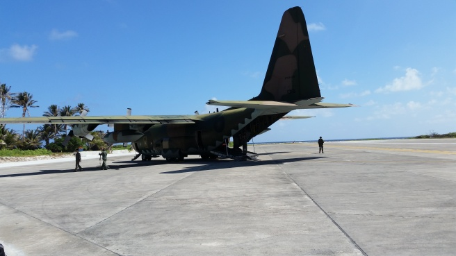 A Taiwanese air force C-130 Hercules parked on the apron at Itu Aba.