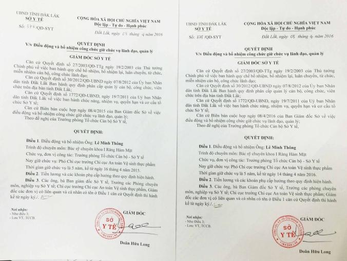 Giám đốc SYT điều chuyển ông Lê Minh Thông hấp tấp tới mức nhầm lẫn phải ra tới 2 quyết định
