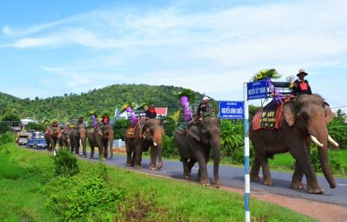 Đội voi chở vòng hoa dẫn đoàn di quan rời thị trấn