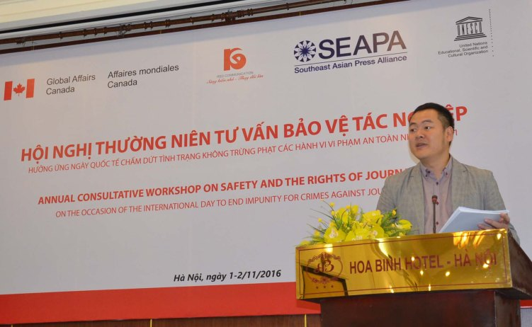 Ông Trần Nhật Minh giám đốc RED khai mạc Hội nghị thường niên tư vấn bảo vệ tác nghiệp