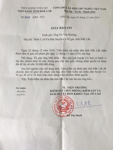 Viện KS tỉnh chuyển sai phạm của ông Hiền về Viện KS huyện Cư Mgar