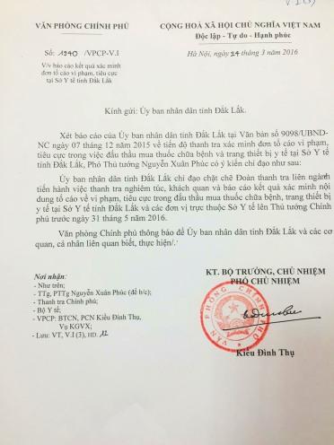 Văn bản chỉ đạo số 1940 của VP Chính Phủ về làm rõ các sai phạm của Y tế Đắk Lắk'